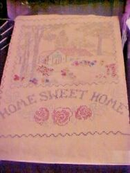 Hand Made Primitive Folk Art Sampler Home Sweet Home Busia Made This On Back