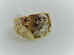 G822 Handsome Men's 10kt And 14kt Gold Masonic Ring Size 10.5