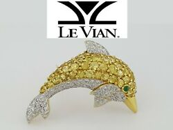 Levian Le Vian 18k Gold 4.20 Ct Yellow Sapphire And Diamond Dolphin Pin Brooch