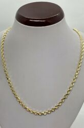 """10k Solid Gold Diamond Cut Rope Chain/necklace Men's/women's 4mm Size 20""""-30"""""""