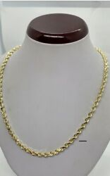 10k Solid Gold Diamond Cut Rope Chain/necklace Menandrsquos/womenand039s 5mm Size 20-30