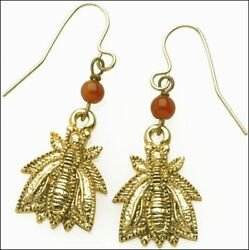 Napoléon Bee Earrings 24 Karat Gold-plate And Carnelian Bead - Museum Collection