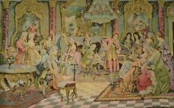 Sensational Large Vintage French Tapestry Wall Hanging, 18th C Society Scene
