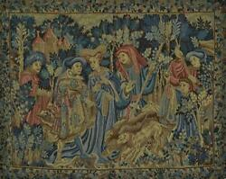 Superb Vintage French Woven Tapestry Wall Hanging, Medieval Gentry Hunting Scene