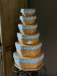 Longaberger Generation Basket Set Of 6 With Liners Wood Lids And Protectors
