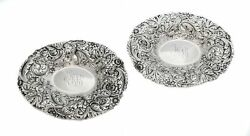Pair Of 925 Antique Sterling Silver Handmade Chased Floral Reposse Oval Dishes