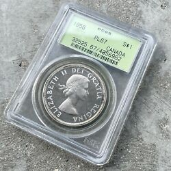 1956 Canada 1 Dollar Silver Coin One Dollar Proof Like Pcgs Gem Pl 67 Old Holder