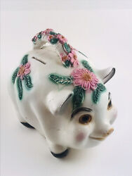"""13"""" X 11.5 Large Chalkware Mexico Carnival Pink Flower Pig Piggy Bank Plaster"""