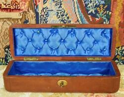 Superb Antique French Leather Glove / Jewellery Box Padded Silk Lining, C1860