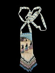Vtg Seed Beaded Fringed Medicine Pouch Native Amulet