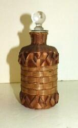 Early 20th Century Penobscot Basketry Covered Glass Bottle - Maine - Rare Form