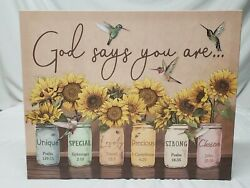 Sunflower And Hummingbirds God Says You Are Unique Lovely Canvas Print Mason Jars