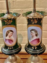 Pair Antique Bohemian Moser Green Glass Vase Lamps Hand Painted Portraits W Gold