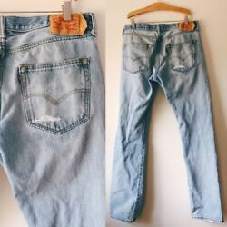 501 Button Fly Denim Pants Blue Jeans 35x33 Lived In Faded Distressed