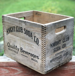 Cool Vintage Knight Club Soda Co Wastfield Ma Dovetailed Crate