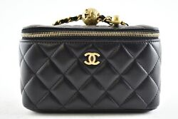 21c Black Small Vanity With Chain Coco Pearl Crush Shoulder Crossbody Bag