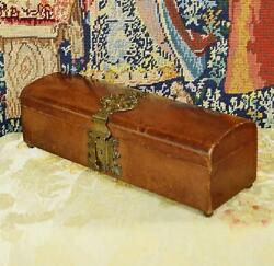 Fantastic Antique French Leather Glove / Jewellery Box, Damask Silk Lining 19thc