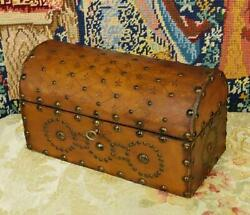 Superb Antique French Studded Leather Trinket / Jewellery / Treasure Box, Chest