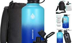 Stainless Steel Water Bottle-12oz 24oz 40oz Or 64oz With 64 Oz-mint/cobalt