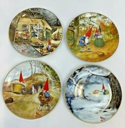 Vintage Rien Poortvliet Legends Of The Gnomes Plates Set 4 Winter Home Birthday