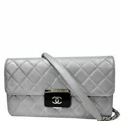 Beauty Lock Mini Flap Quilted Leather Shoulder Bag Silver