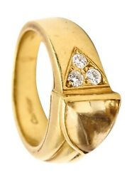 Vintage Ring In 18 Kt With 1.78 Ctw In Vs Diamonds And Citrine Box And Paper