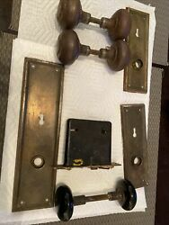 Vintage Antique Locks Brass Door Knobs And Face Plates