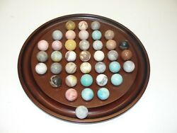 Vintage 1974 Fine Bombay Wood And Large Stone Marble Solitaire Board Game