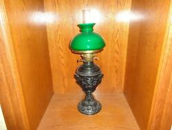 Antique 19th.c Cast Metal Base And Green Overlay Glass Shade Fluid Oil Lamp