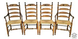 Vtg L Hitchcock Harvest Stenciled Ladder Back Rush Seat Dining Chairs - Set Of 4