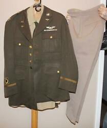 Wwii Usaaf Captain Sterling Wings Air Medal Greens And Pinks Uniform Pink Trousers
