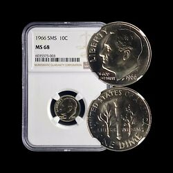 United States. 10 Cents 1966 Fdr - Ngc Ms68 - Sms Roosevelt Dime C.6035373003