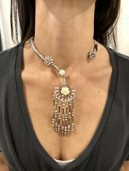 New With Tags Prada 3650 Crystal Gems Resin Roses Fringe Hinge Collar Necklace