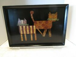Mcm Couroc Tray Of Cats Monterey 1960s Art Geometric Inlaid Wood And Brass Vintage