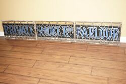 Rare Antique 1920's Stained Glass Private Smoker's Parlour Sign Cigarette
