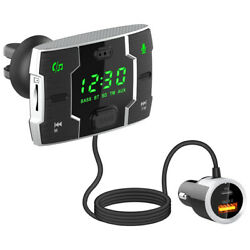 Car Handsfree Fm Transmitter Bluetooth Mp3 Player Usb Double Fast Charge Qc3.0