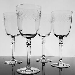 Fostoria Holly Water Goblets Vintage Tall Blown Crystal Gray Cut 1940s Stemware
