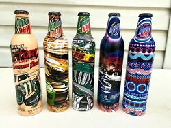 2007-2008 Lot Of 5 Mountain Dew Racing Labels Aluminum Soda Bottles By Pepsi
