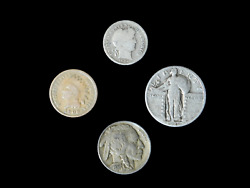 4 Coin Us Estate Lot Set Barber Dime Buffalo Indian Head And Standing Liberty