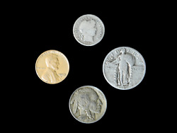 4 Coin Us Estate Lot Set Barber Dime Buffalo Wheat And Standing Liberty