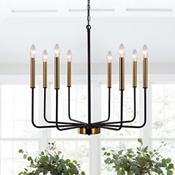 Lasenchoo 8 Lights Farmhouse Chandeliers, Black And Gold Modern Chandelier, For