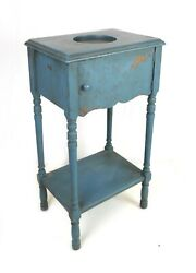 Vintage Wood Smoking Ashtray Stand Pipe Tobacco Humidor Cabinet Old Blue Paint