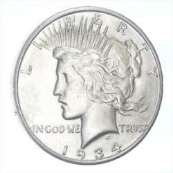 1934-s Silver Peace Dollar Choice Au++  About Uncirculated ++