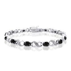 Bracelet In Sterling Silver 5 Ct Tgw Black Sapphire And Diamond Accent Infinity