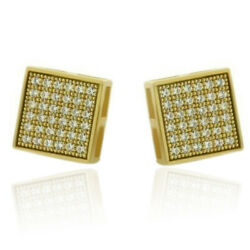 Square Micro Pave Cz 14k Yellow Gold Over Sterling Silver Men Stud Earrings 6mm