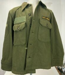Vintage 40s Wwii Us Army Wool Ike Field Jacket Asa Patch Short Bomber Style Med.