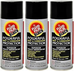 Fluid Film As11bl Undercoating Protection Rust Inhibitor Spray Can Black 3 Pack