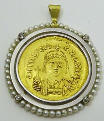 Antique 22 Karat Gold Byzantine Coin Set In A Modern White Gold Diamond And Pear