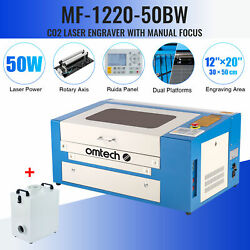 50w 20x12in Workbed Co2 Laser Engraver Cutter With Rotary Axis And Fume Extractor
