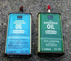 Rare Vintage 1960s Sears Handy Oilers Oil Cans Household And Graphite Craftsman